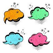 Colorful set of speech bubbles. Comic sound effects in pop art style. Vector illustration