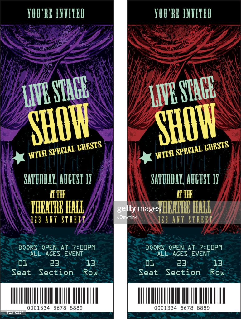 Colorful set of theatre show ticket templates