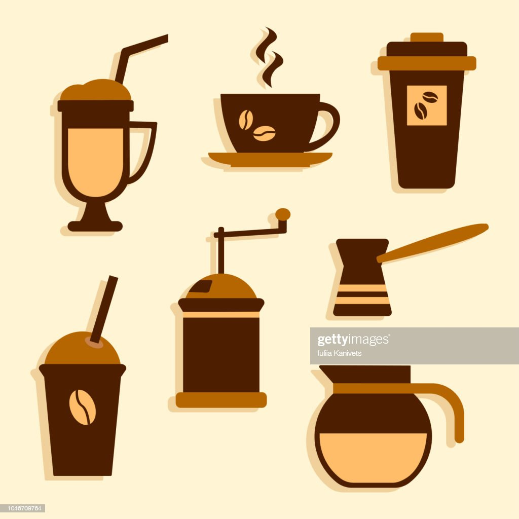 Colorful set on coffee theme, vector illustration