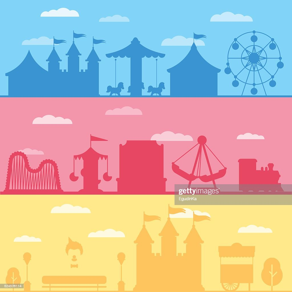 Colorful set silhouette of carnival funfair and amusement park