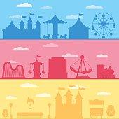 Colorful set silhouette of carnival funfair and amusement park