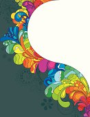 A colorful seventies patterned border template