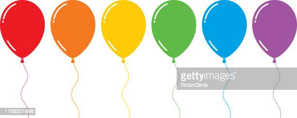 colorful shiny flat balloons - balloon stock illustrations