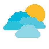 colorful silhouette with set of clouds and sun