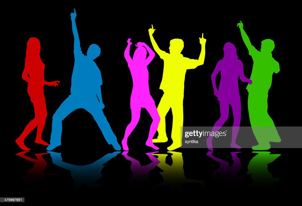 Colorful silhouettes of dancing people