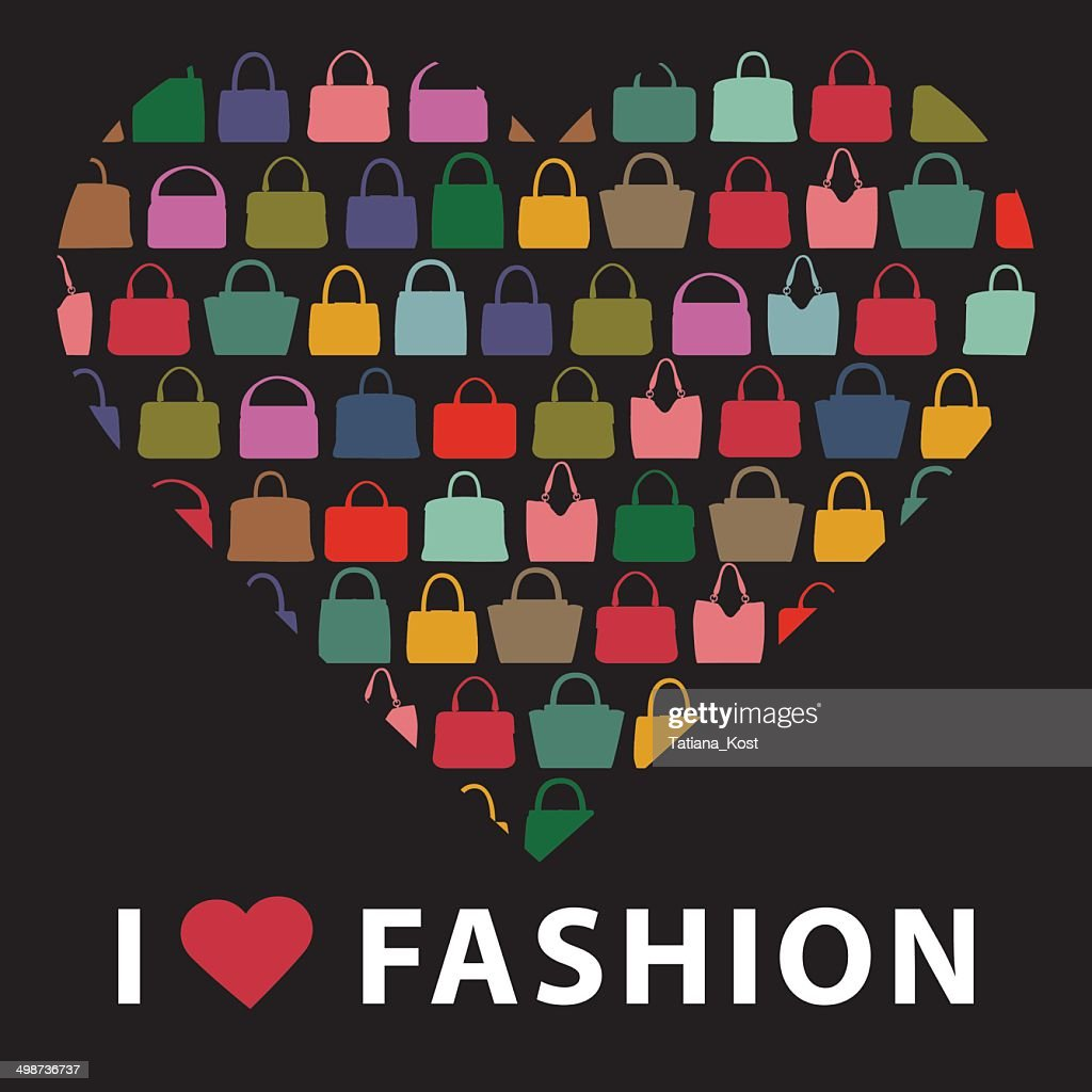 Colorful silhouettes women's handbags.Composition in form of hea