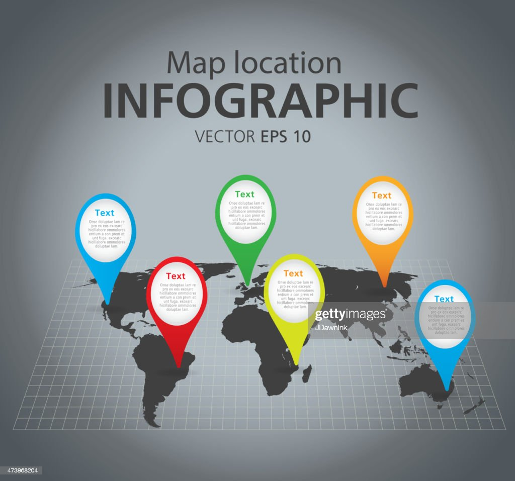 Colorful simple world map location pointer marker infographic graph colorful simple world map location pointer marker infographic graph vector art gumiabroncs Images