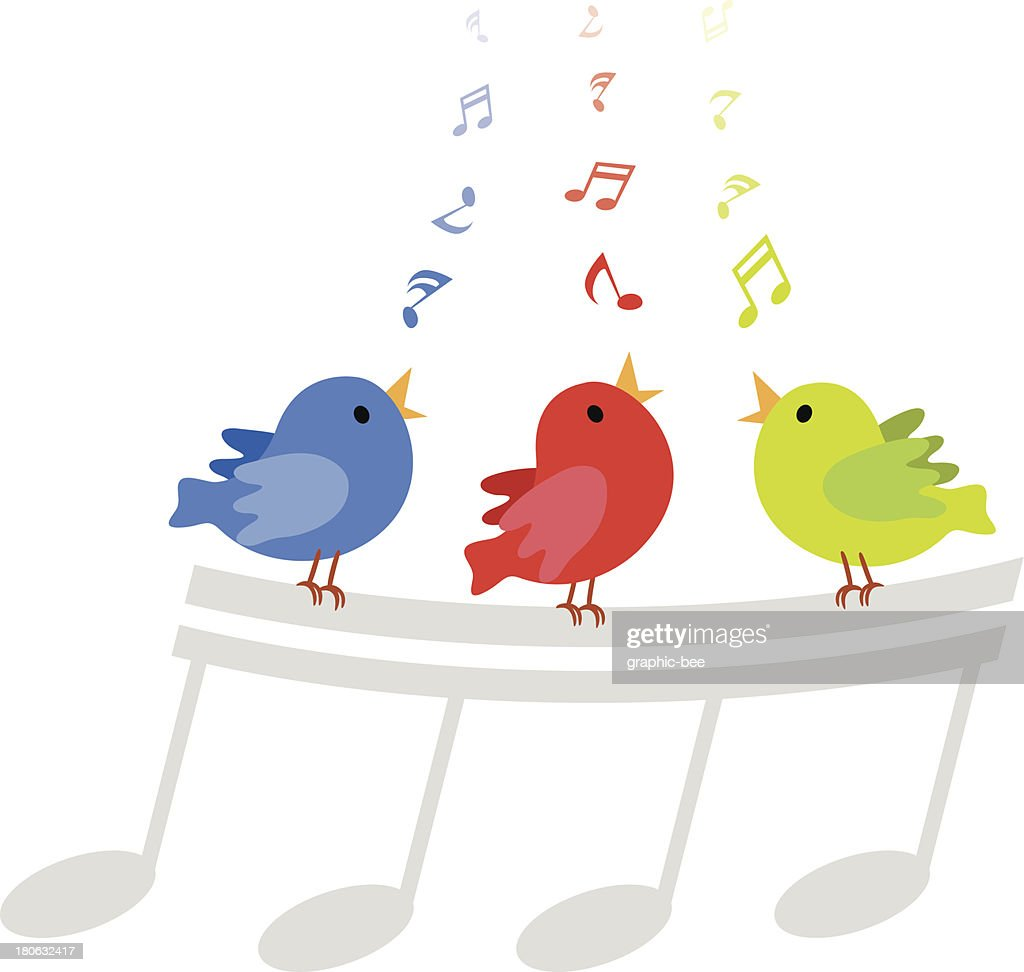 Colorful singing birds cartoon