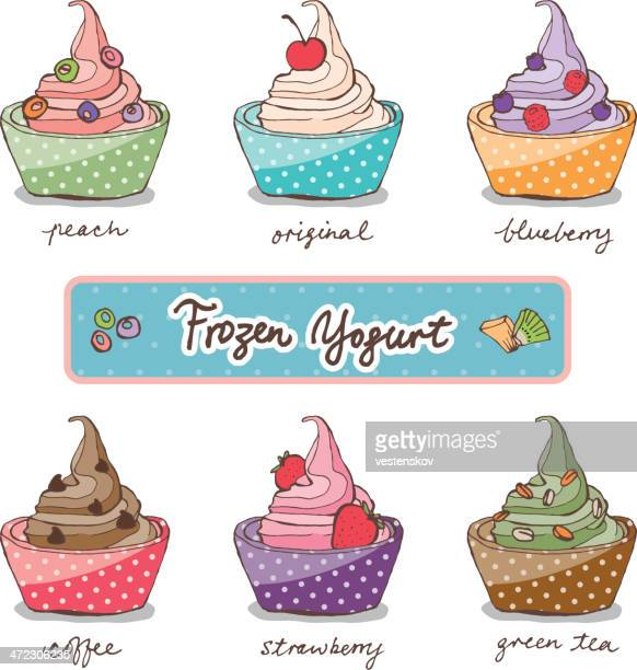 colorful sketch variation flavor frozen yogurt w toppings - dessert topping stock illustrations, clip art, cartoons, & icons