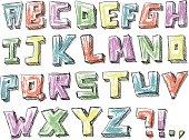 Colorful sketchy hand drawn alphabet