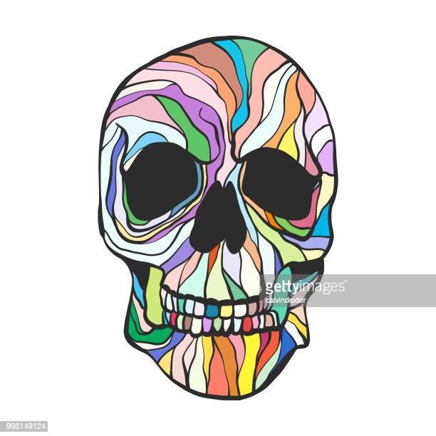 ilustraciones, imágenes clip art, dibujos animados e iconos de stock de colorida calavera dibujo - dia de muertos