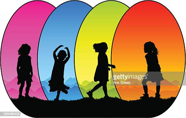 Colorful small girl silhouettes