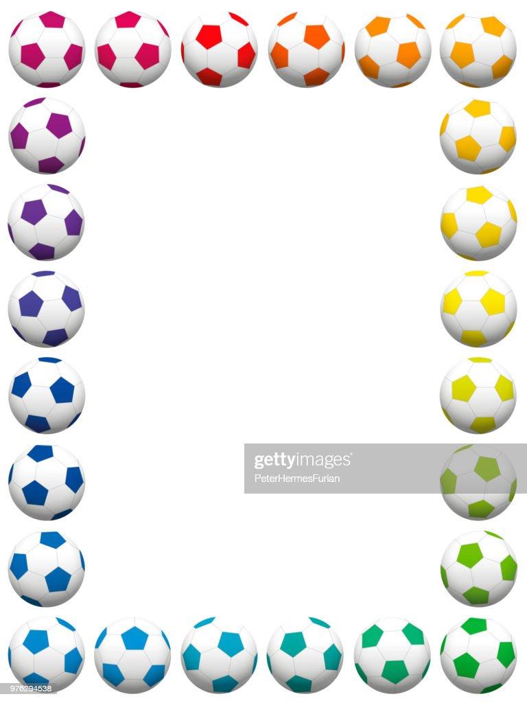 Colorful soccer balls, vertical frame. Isolated vector illustration on white background.