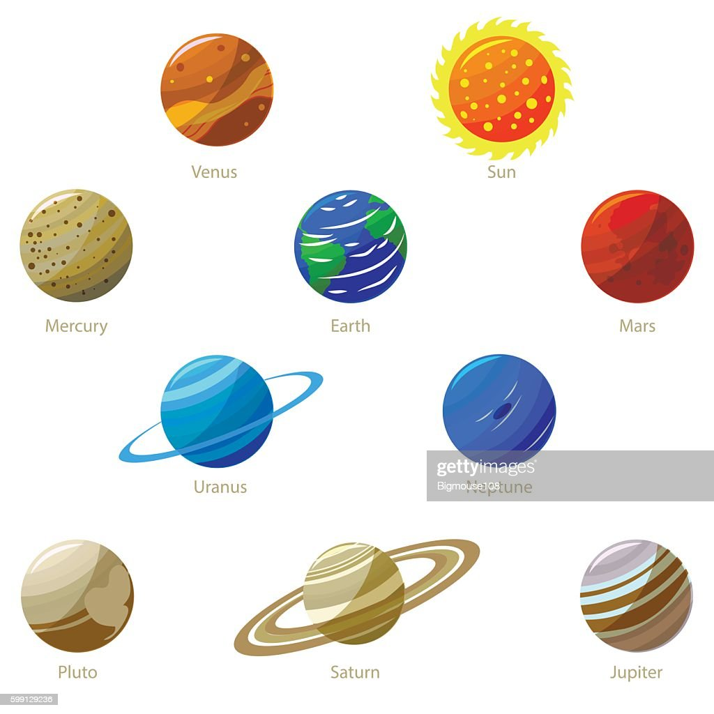 Colorful Solar System Planets And Sun Vector Art Getty Images What Are The Color In Rings