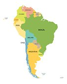 colorful South America map