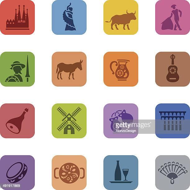 bunte spanien icon-set - bullfighter stock-grafiken, -clipart, -cartoons und -symbole
