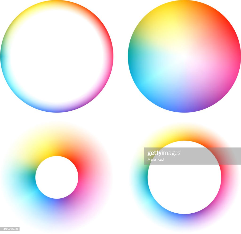 Colorful spectrum round frames set