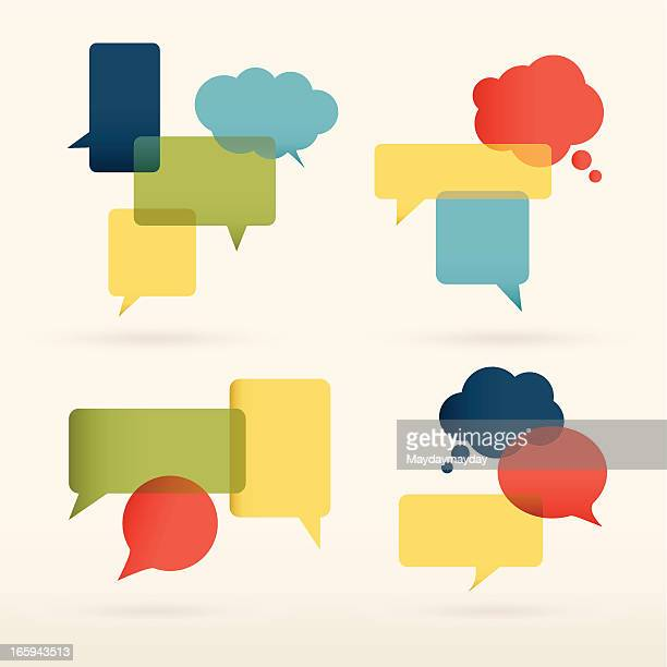 colorful speech bubbles design - thought bubble stock illustrations