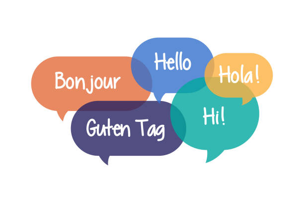 colorful speech bubbles set with hello in different languages - bubble stock illustrations