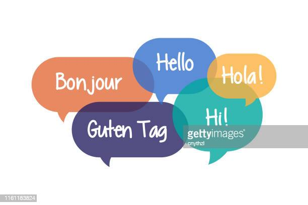 illustrazioni stock, clip art, cartoni animati e icone di tendenza di colorful speech bubbles set with hello in different languages - greeting