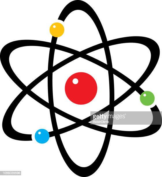 colorful spheres atom icon - nucleus stock illustrations, clip art, cartoons, & icons