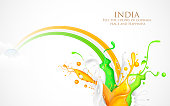 Colorful Splash of India Tricolor
