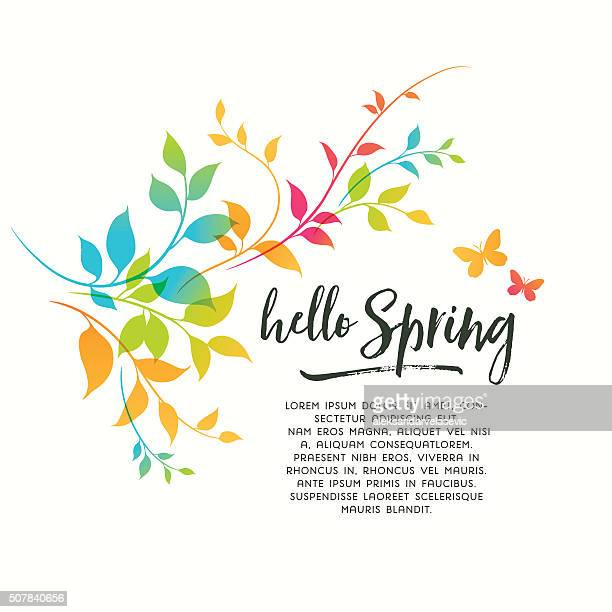 colorful spring flourishes - springtime stock illustrations