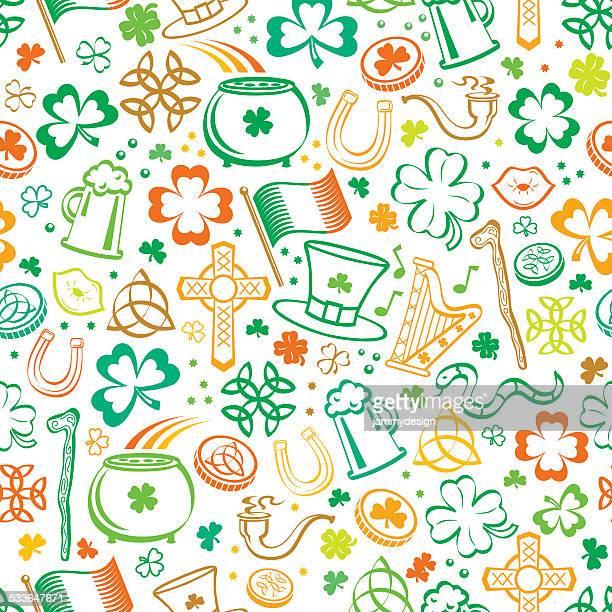 聖パトリックのカラフルなシームレスパターン - 北ヨーロッパ点のイラスト素材/クリップアート素材/マンガ素材/アイコン素材