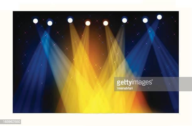 ilustraciones, imágenes clip art, dibujos animados e iconos de stock de colorido luz de escenario - luz de escenario