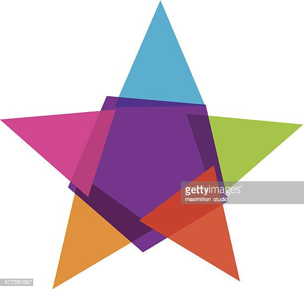colorful star social community vector illustration logo - celebrities stock illustrations