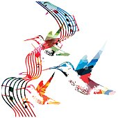 Colorful stave with music notes and birds