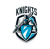 Colorful , sticker, emblem of the knight in iron armor. Knight of the Middle Ages, shield, warrior, swordsman, crusader, defender of the fortress. The mascot of the sports club.Vector illustration