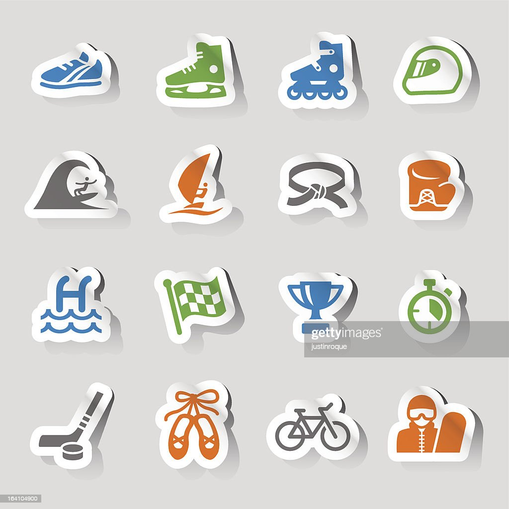 Colorful sticker sports icons on a gray background