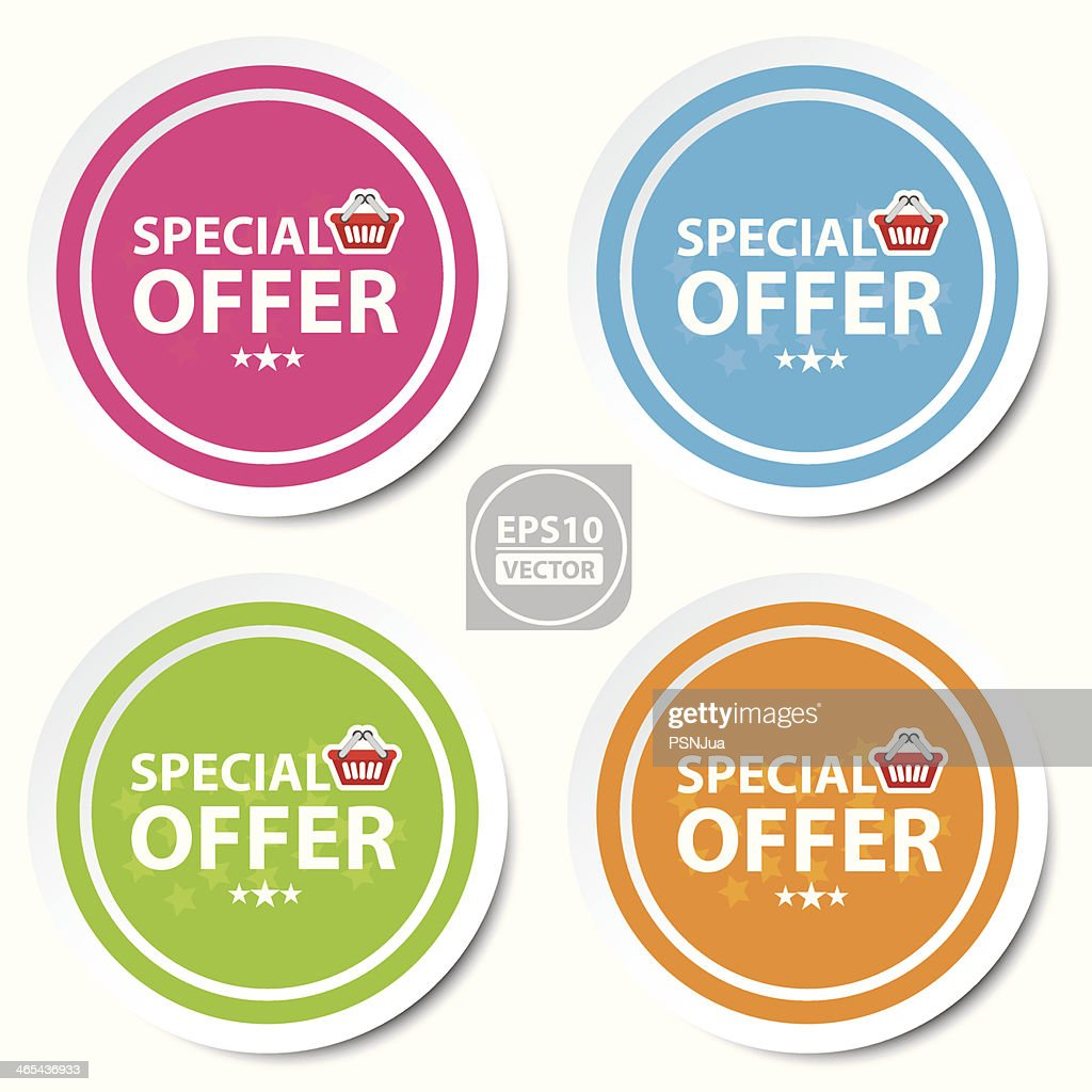 Colorful stickers, icons, label, banner of special offer.