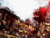 Colorful streetscape watercolor painting style