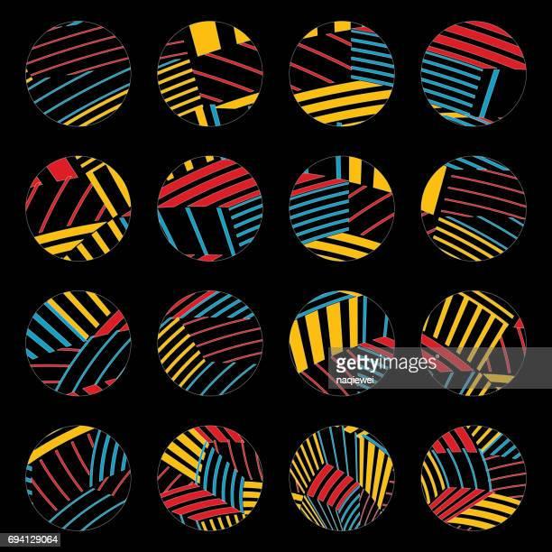 カラフルなストライプの円パターンのボタン コレクション