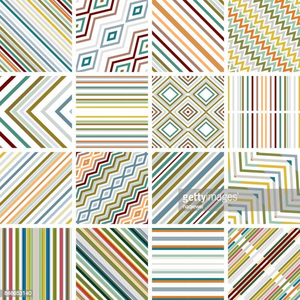 colorful stripe seamless pattern collection - zigzag stock illustrations, clip art, cartoons, & icons