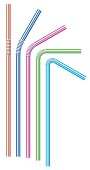 Colorful striped drinking straws