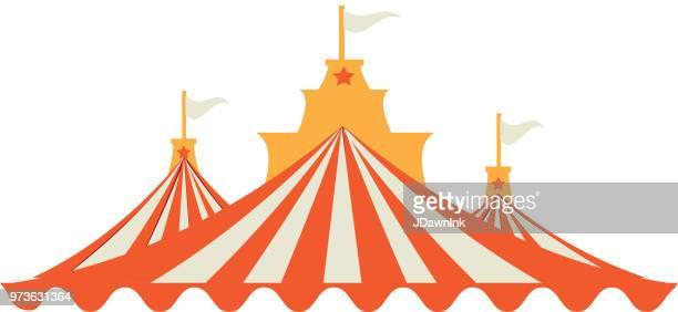 illustrations, cliparts, dessins animés et icônes de carnaval d'été rayé coloré ou pics tente de cirque - chapiteau de cirque