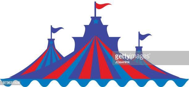 ilustraciones, imágenes clip art, dibujos animados e iconos de stock de carnaval de verano rayas coloridas o picos de carpa de circo - carpa de circo