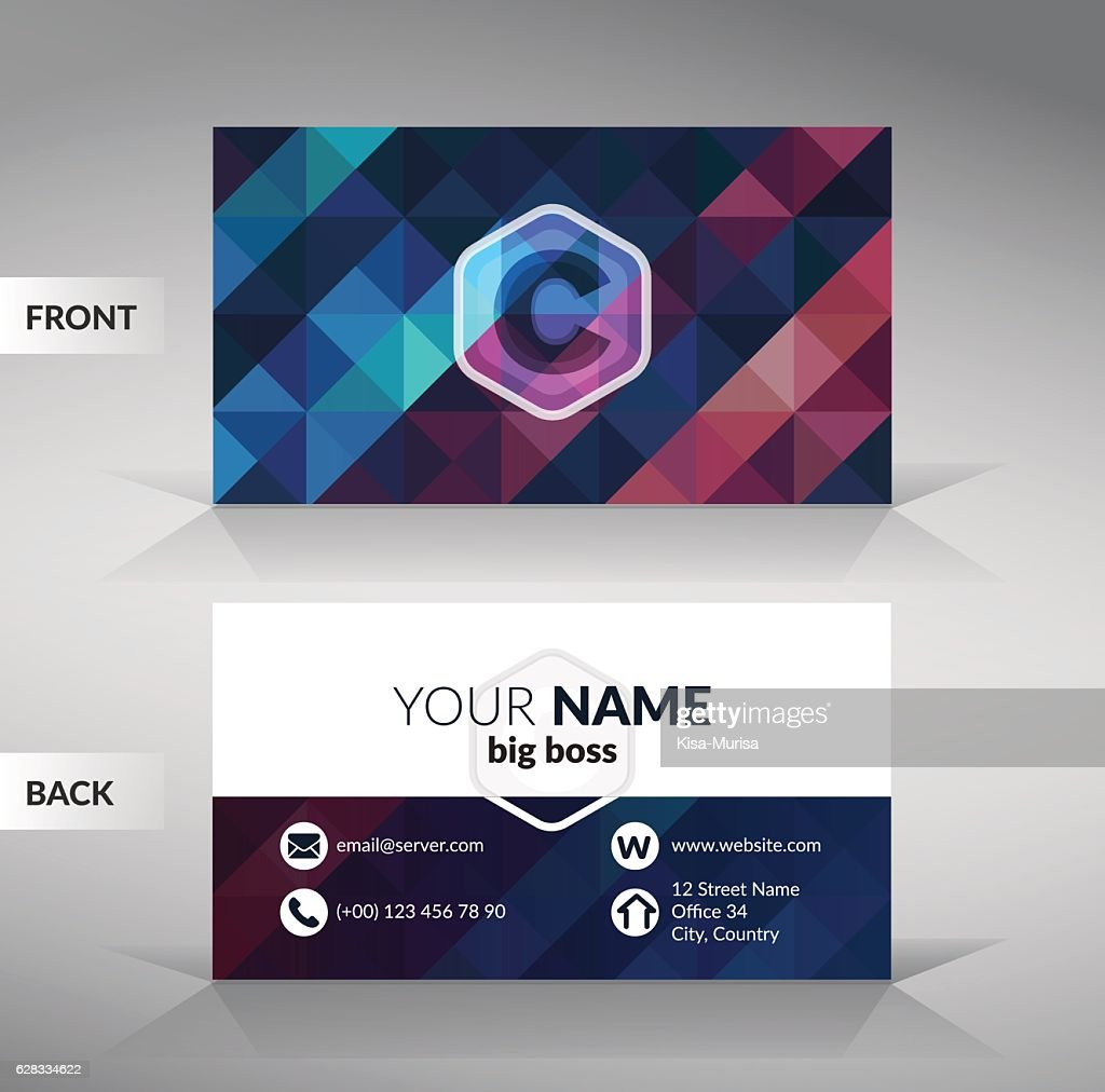 colorful stylish business card template with modern triangular