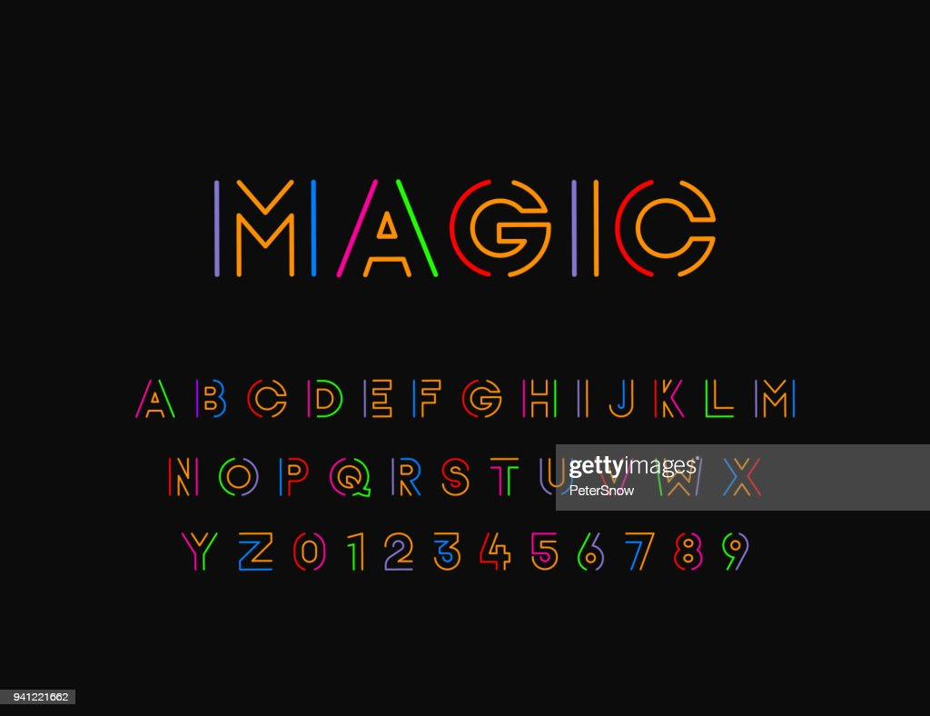 Colorful Stylized vector font with thin line. Typographic design
