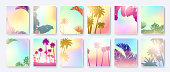Colorful Summer banners, tropical backgrounds with palm leaves. Vector illustration.