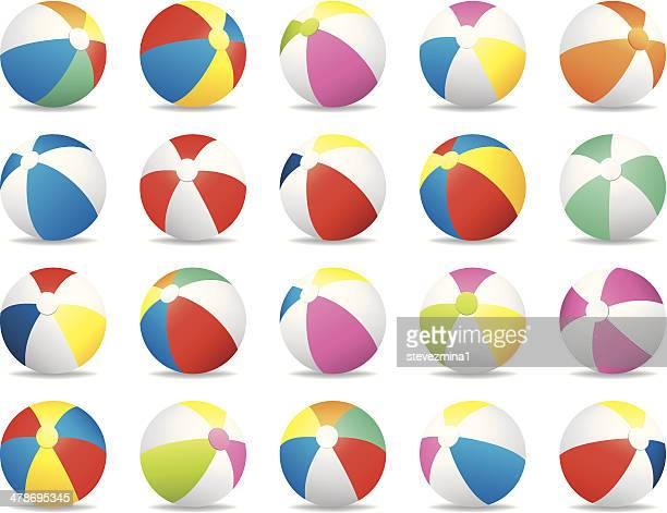 ilustraciones, imágenes clip art, dibujos animados e iconos de stock de colorido pelota de playa de verano ilustración vectorial de de la colección - pelota de playa