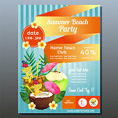 colorful summer beach party poster with cocktail drink