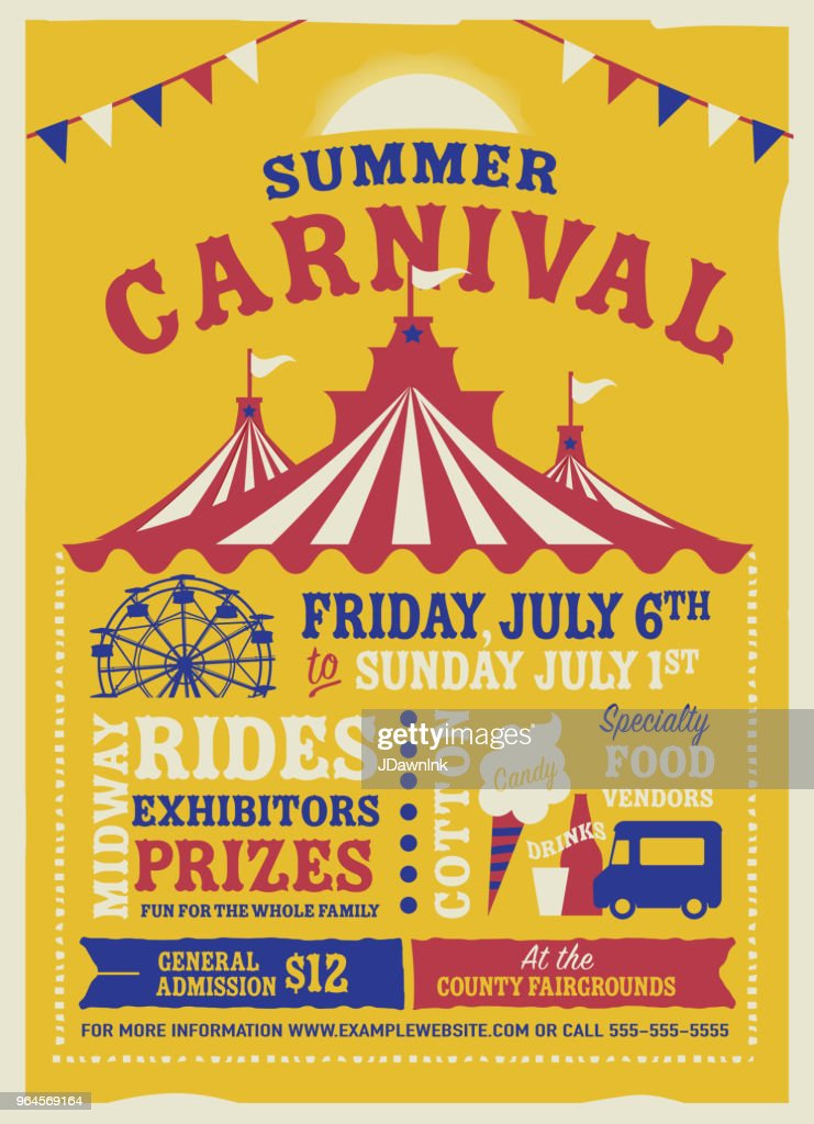 Colorful Summer Carnival Poster design template : stock illustration