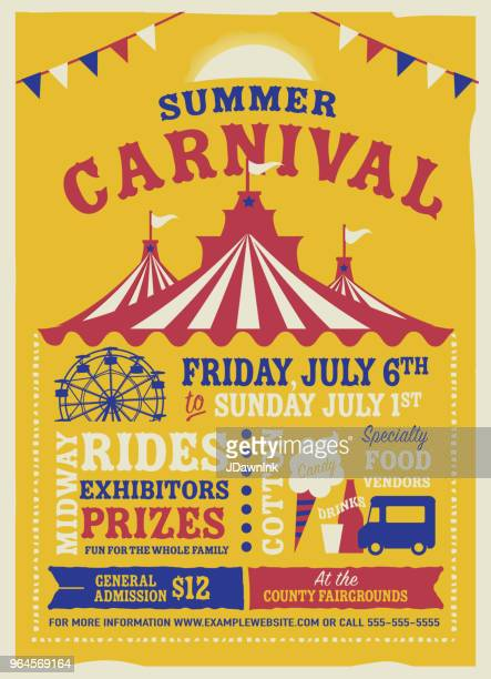 colorful summer carnival poster design template - tent stock illustrations, clip art, cartoons, & icons