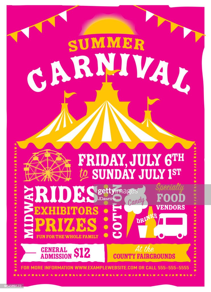 colorful summer carnival poster design template vector art getty