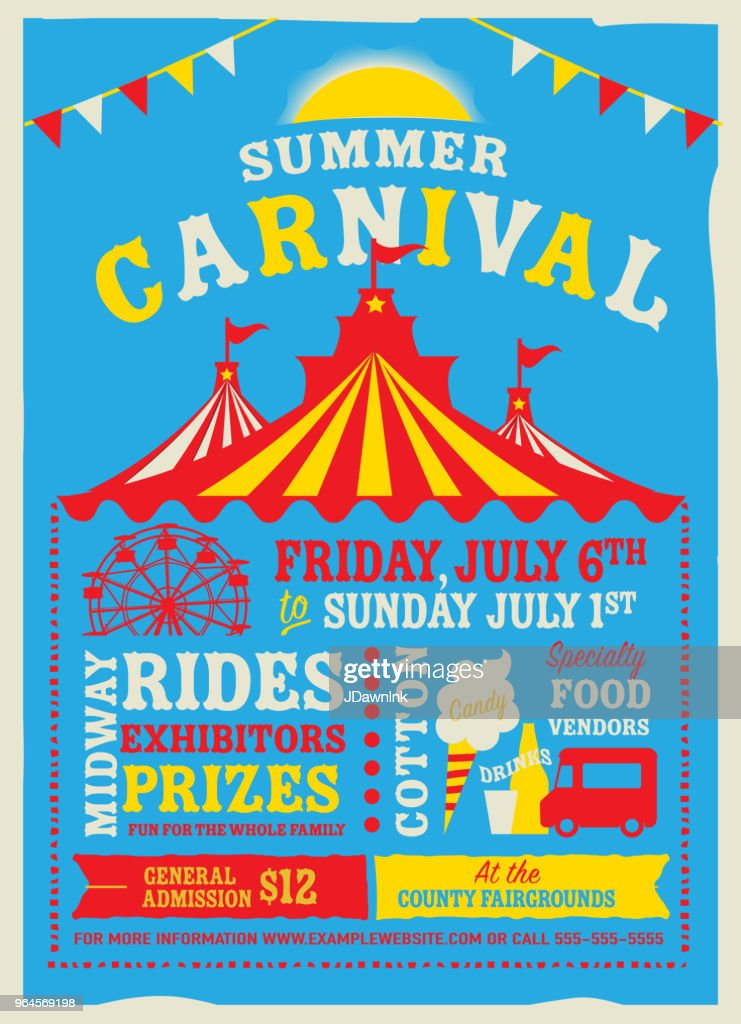 Colorful Summer Carnival Poster Design Template High-Res ...
