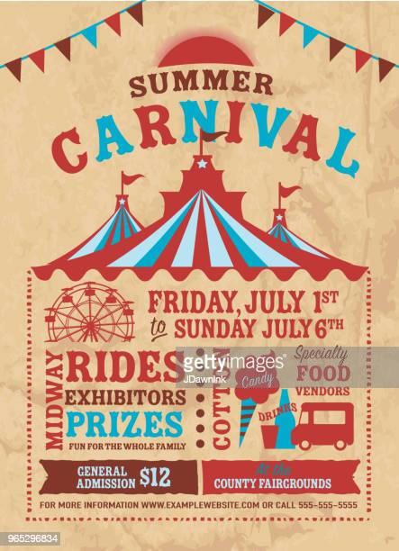 カラフルな夏のカーニバル ポスター デザイン テンプレート - サーカステント点のイラスト素材/クリップアート素材/マンガ素材/アイコン素材
